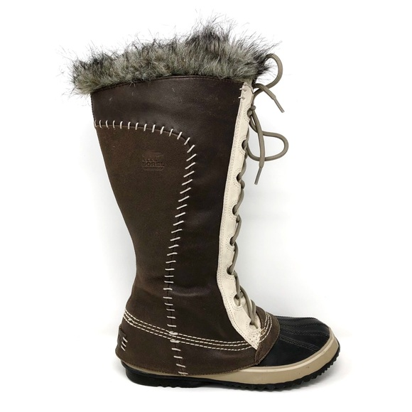 bc347e50d15 Sorel Cate The Great Leather Fur Winter Snow Boots.  M 5c5fc4fd9539f758e98d7503